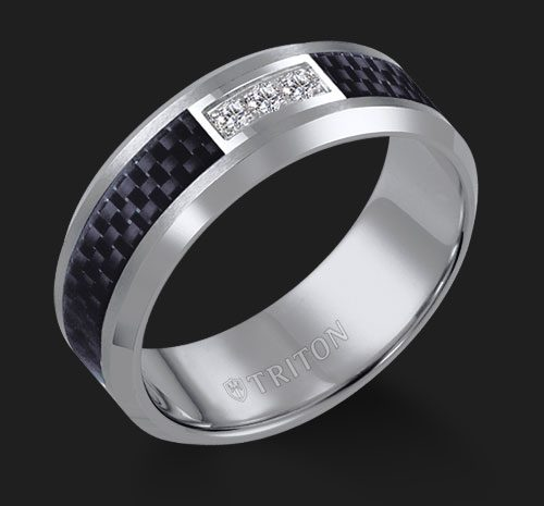 8mm Tungsten Carbide Bevel Edge Comfort Fit Diamond Band With Black